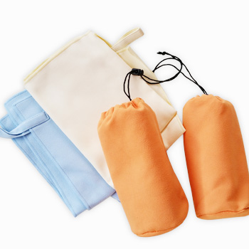 Portable sport towel with elastic band in microfiber fabric bag